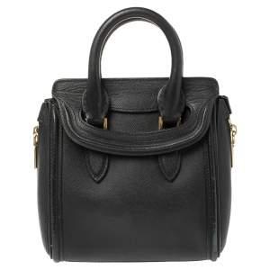 Alexander McQueen Black Leather Mini Heroine Bag