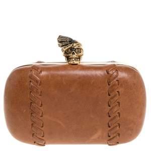 Alexander McQueen Brown Leather Skull Box Clutch