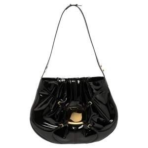 Alexander McQueen Black Patent Leather Clover Hobo