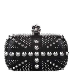 Alexander McQueen Black Leather and Silver tone Studded Britannia Box Clutch Bag