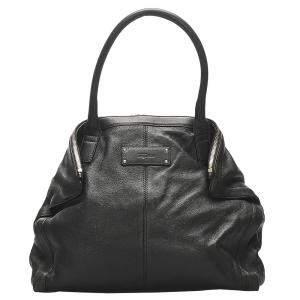 Alexander McQueen Black Leather De Manta Tote Bag