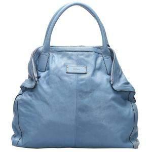 Alexander McQueen Blue Leather De Manta Tote Bag