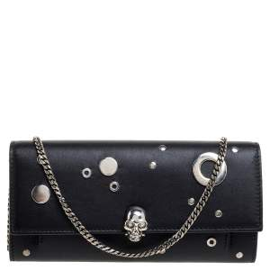 Alexander McQueen Black Leather Eyelet Wallet on Chain