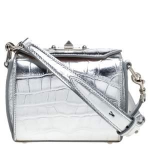 Alexander McQueen Silver Croc Embossed Patent Leather Box 16 Shoulder Bag