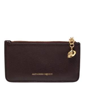 Alexander McQueen Burgundy Leather Zip Card Holder