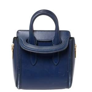 Alexander McQueen Blue Leather Mini Heroine Bag