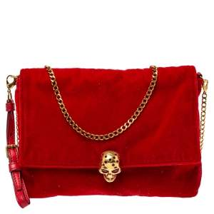 Alexander McQueen Red Velvet Flap Crossbody Bag