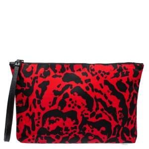 Alexander McQueen Black/Red Printed Nylon Zip Clutch