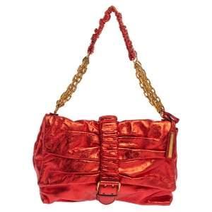 Alexander McQueen Metallic Red Leather Scrunch Shoulder Bag