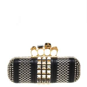 Alexander McQueen Black Studded Leather Skull Knuckle Clutch