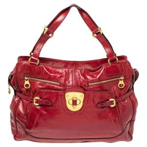 Alexander McQueen Red Patent Leather Satchel
