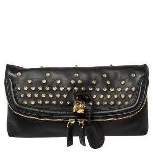 Alexander McQueen Black Leather Studded Skull Foldover Clutch