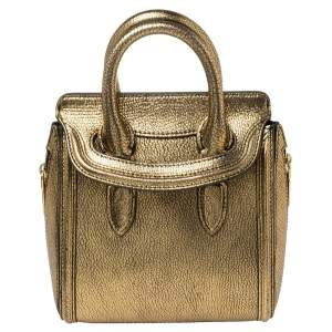 Alexander McQueen Metallic Gold Leather Mini Heroine Bag