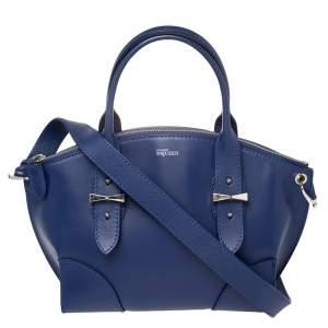 Alexander McQueen Blue Smooth Leather Small Legend Satchel