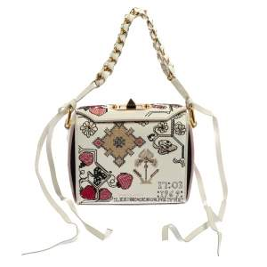 Alexander McQueen White Embroidered Leather Box 16 Crossbody Bag