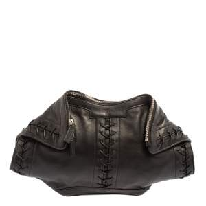 Alexander McQueen Black Leather Medium De Manta Clutch