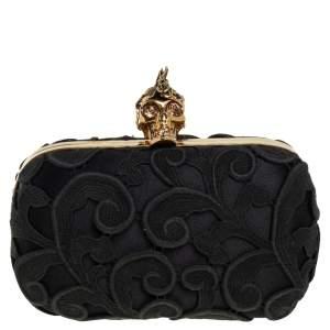 Alexander McQueen Black Lace Skull Box Clutch