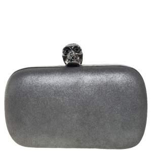 Alexander McQueen Metallic Grey Leather Skull Box Clutch