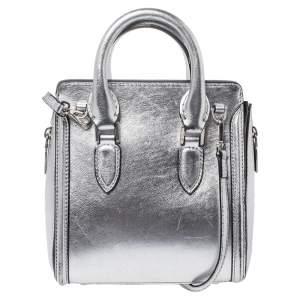 Alexander McQueen Metallic Silver Leather Mini Heroine Bag