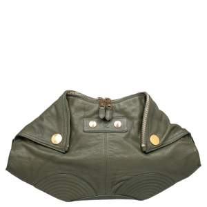 Alexander McQueen Green Leather De Manta Clutch