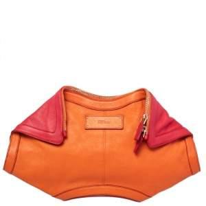 Alexander McQueen Orange/Red Leather Medium De Manta Clutch