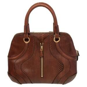 Alexander McQueen Dark Brown Python Leather Manta Satchel