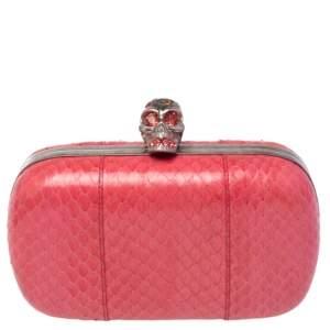 Alexander McQueen Pink Python Skull Box Clutch