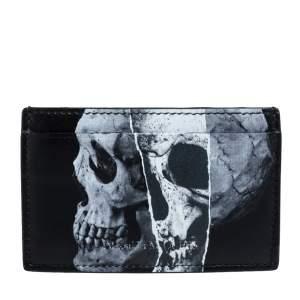 Alexander McQueen Black Leather Skull Print Card Holder