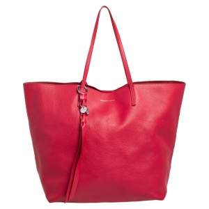 Alexander McQueen Red Leather Skull Charm Shopper Tote