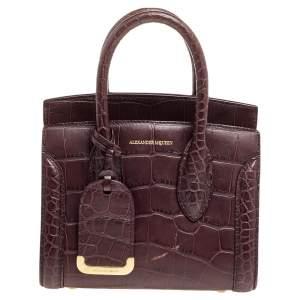 Alexander McQueen Burgundy Croc Embossed Leather Heroine 21 Satchel