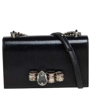 Alexander McQueen Black Patent Leather 4 Ring Flap Shoulder Bag