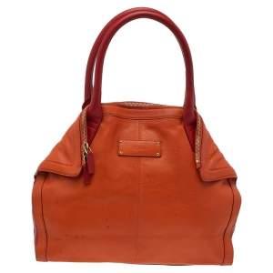 Alexander McQueen Orange/Red Leather De Manta Tote