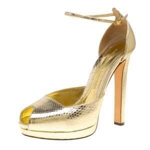 Alexander McQueen Metallic Embossed Python Leather Peep Toe Ankle Strap Platform Sandals Size 40