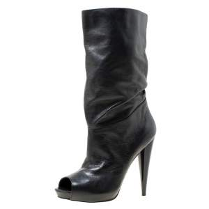 Alexander McQueen Black Leather Ruched Detail Peep Toe Calf Boots Size 40.5
