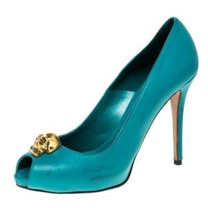 Alexander McQueen Teal Leather Skull Peep Toe Pumps Size 38