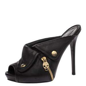 Alexander McQueen Black Leather Dredge Peep Toe Platform Mule Sandals Size 40