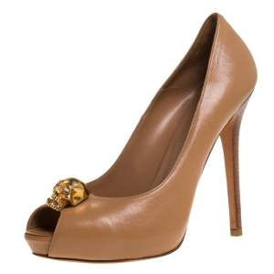 Alexander McQueen Brown Leather Skull Peep Toe Platform Pumps Size 40
