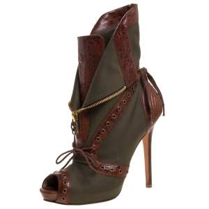 Alexander McQueen Khaki Green/Brown Canvas and Leather Faithful Peep Toe Boots Size 39