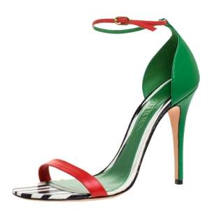 Alexander McQueen Multicolor Leather Open Toe Ankle Strap Sandals Size 41