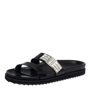 Alexander McQueen Black Crystal Embellished Double Strap Slide Sandals Size 38
