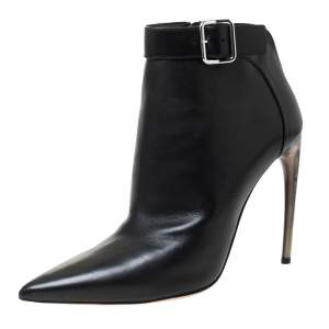 Alexander McQueen Black Leather Buckle Detail Pointed Toe Ankle Booties Size 40