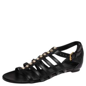 Alexander McQueen Black Leather Spike Detail Flat Gladiator Sandals Size 38
