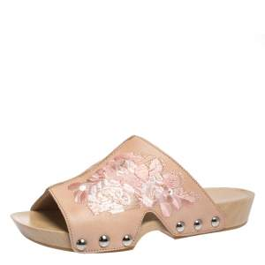 Alexander McQueen Peach Leather Embroidered Wooden Clogs Size 36