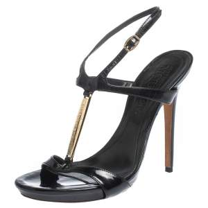 Alexander McQueen Black Patent Leather T-strap Sandals Size 37.5