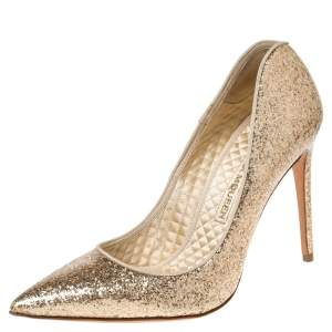 Alexander McQueen Gold Patent Glitter Leather Pointed Toe Pumps Size 38