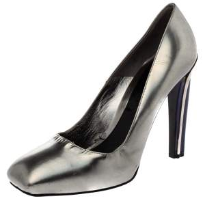 Alexander McQueen Silver Patent Leather Square Toe Pumps Size 41