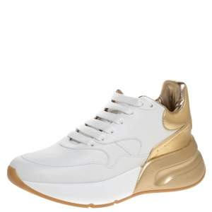 Alexander McQueen White/Gold Leather New Larry Low Top Sneakers Size 39.5