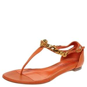 Alexander McQueen Orange Leather Crystal Embellished Skull Flat Thong Sandals Size 37