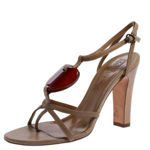 Alexander McQueen Beige Leather Heart T Strap Sandals Size 38.5