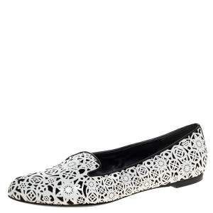 Alexander McQueen Monochrome Laser Cut Patent Leather Smoking Slippers Size 37